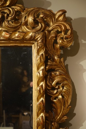 Large Italian 18th Century  Carved Gilt Wood  Mirror  -