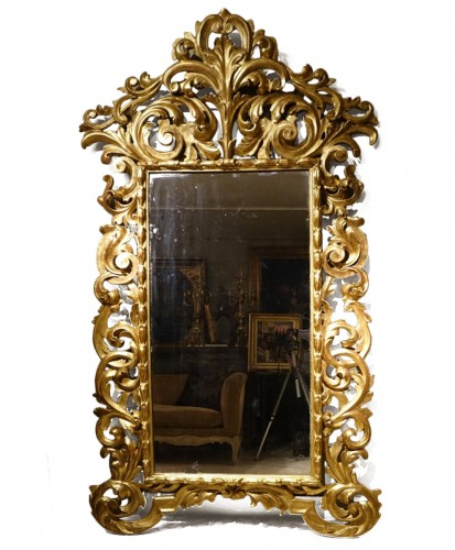 Large Richly Carved Giltwood Mirror, Italy, 18th Century