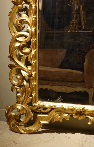 Mirrors, Trumeau  - Large Richly Carved Giltwood Mirror, Italy, 18th Century