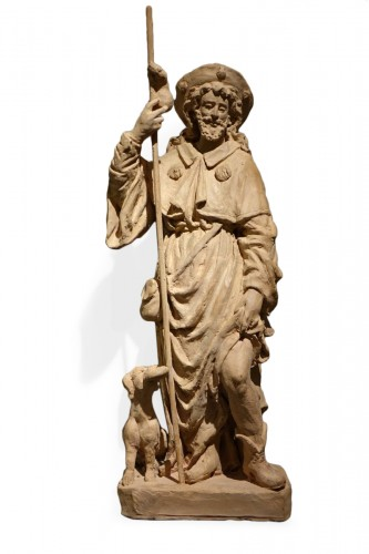 Saint Rocco ,Unique Original  Terracotta  Statue France 18th Century