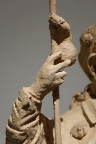 18th century - Saint Rocco ,Unique Original  Terracotta  Statue France 18th Century