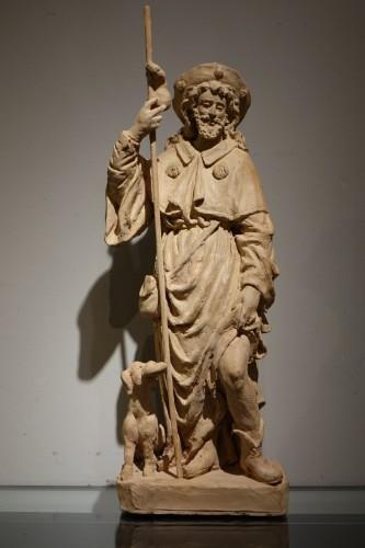 Antiquités - Saint Rocco ,Unique Original  Terracotta  Statue France 18th Century