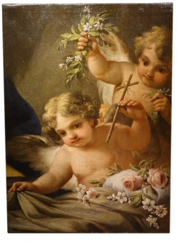 Two Angels Carrying Bunches of Flowers, Italy, 18th Century