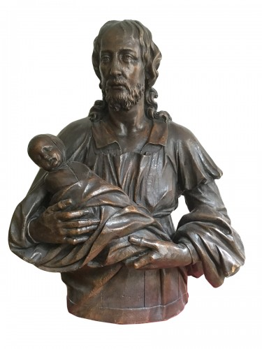 Oak Bust of Christ Holding a Child, Austria, 18th Century