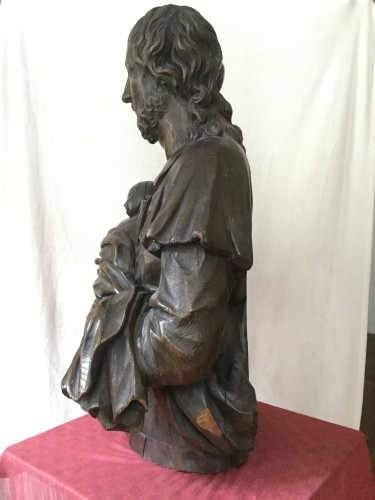 Sculpture  - Oak Bust of Christ Holding a Child, Austria, 18th Century