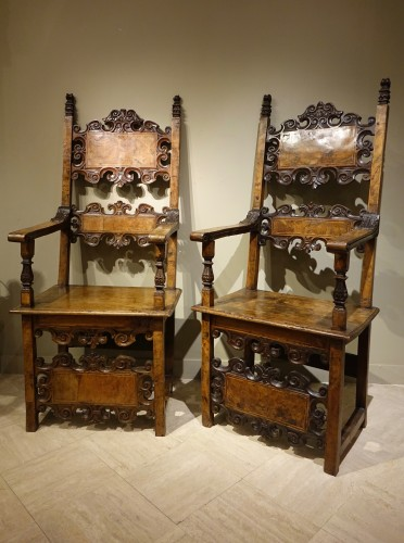 Pair of Large 17th Century Armchairs, Lombardy or Tuscany , Italy 17th C