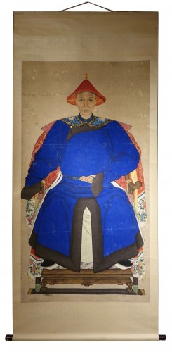 Large Silk Painting Portrait of a Mandarin, 19th Century,Qing Dynasty, Chin