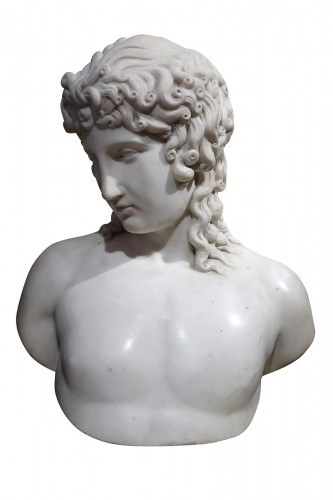 A Bust Sculpture in Carrara Marble, French Neoclassical School, circa 1800-