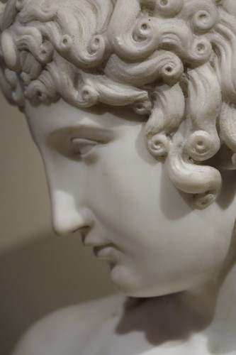 A Bust Sculpture in Carrara Marble, French Neoclassical School, circa 1800- -