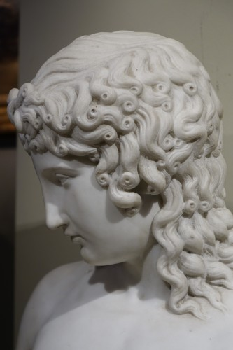 19th century - A Bust Sculpture in Carrara Marble, French Neoclassical School, circa 1800-