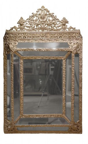 Mirror in silver plated  bras, French Second Empire period