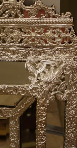 Mirrors, Trumeau  - Louis XIV style Mirror in silver plated  bras, French Second Empire period