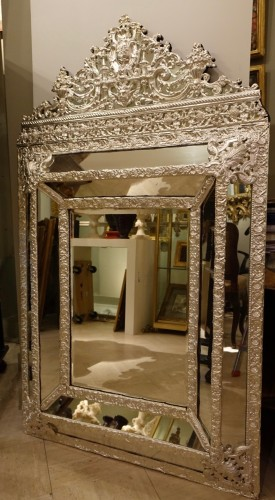 Mirror in silver plated  bras, French Second Empire period  -