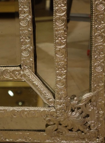 19th century - Louis XIV style Mirror in silver plated  bras, French Second Empire period