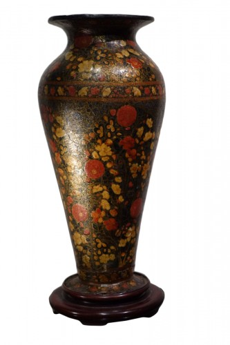 Lacquered Vase, Kashmir, India 19th Century.