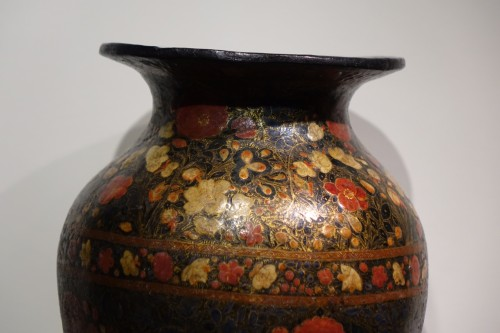 Lacquered Vase, Kashmir, India 19th Century. -