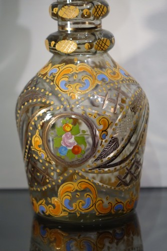 Cut Glass Bottle with Oriental Decor, Bohemia, Early 19th Century - Glass & Crystal Style Napoléon III