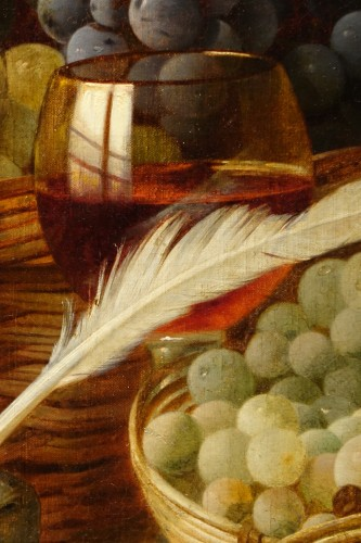 Paintings & Drawings  - Still Life With Grapes - Claudius Pizzetty, 1866