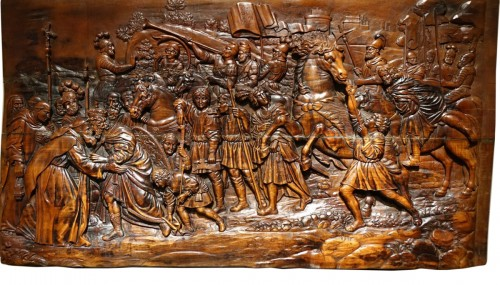17th Century Wood Panel Sculpture Carved in Low Relief