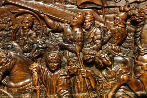 17th Century Wood Panel Sculpture Carved in Low Relief  - Sculpture Style Louis XIV
