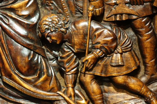 17th Century Wood Panel Sculpture Carved in Low Relief  -
