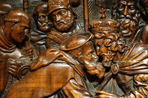 17th century - 17th Century Wood Panel Sculpture Carved in Low Relief