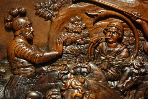 17th Century Wood Panel Sculpture Carved in Low Relief  - Louis XIV