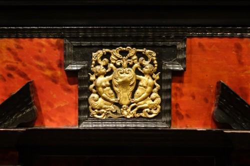 17th Century Flemish Cabinet in Ebony, Tortoiseshell and Blackened Wood  - Furniture Style Louis XIII