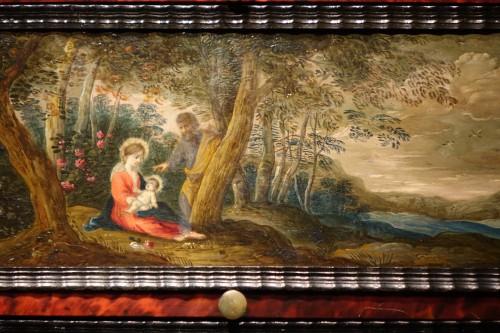 17th century - 17th Century Flemish Cabinet in Ebony, Tortoiseshell and Blackened Wood