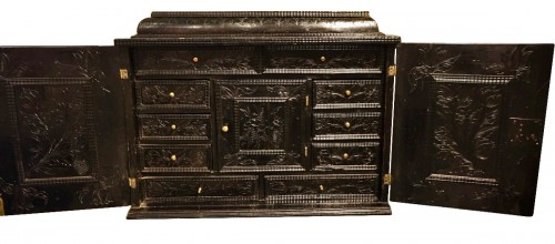17th century French Ebonized wood cabinet