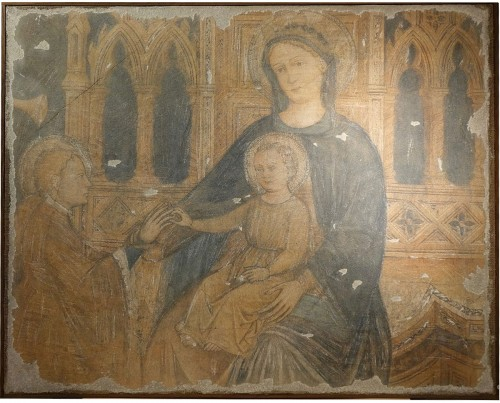 """Painting """"a fresco"""" representing a Virgin with the Child"""