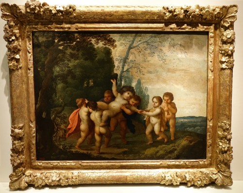 Painting representing the childhood of Bacchus, 17th century Flemish school