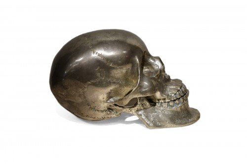 Silvered Bronze Sculpture Skull, Sicily, 18th Century