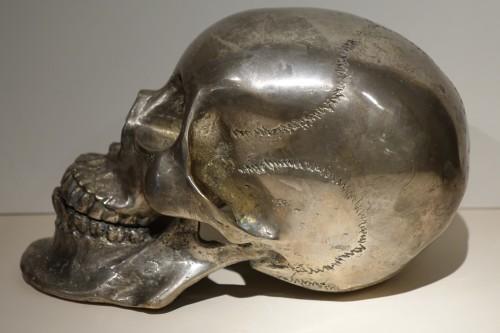 Curiosities  - Silvered Bronze Sculpture Skull, Sicily, 18th Century