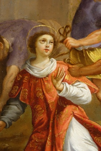 "Painting ""Stoning of Saint Stephen"" Oil on Copper, Italian School, 17th C - Paintings & Drawings Style Louis XIV"