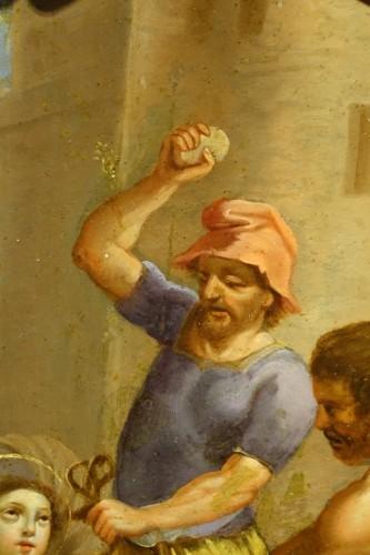 "Paintings & Drawings  - Painting ""Stoning of Saint Stephen"" Oil on Copper, Italian School, 17th C"