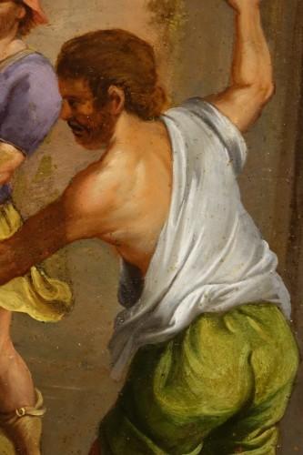 "18th century - Painting ""Stoning of Saint Stephen"" Oil on Copper, Italian School, 17th C"
