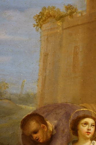 "Painting ""Stoning of Saint Stephen"" Oil on Copper, Italian School, 17th C - Louis XIV"