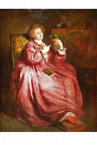 A young woman playing with her parrot,V.de Bornschlegel,19th c.