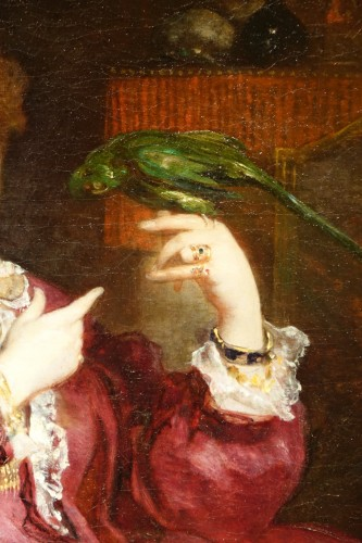 Paintings & Drawings  - A young woman playing with her parrot,V.de Bornschlegel,19th c.