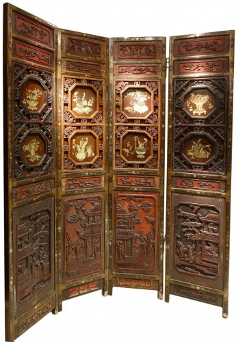 A  19th century  Chinese lacquer screen