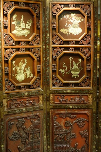 Asian Art & Antiques  - A  19th century  Chinese lacquer screen