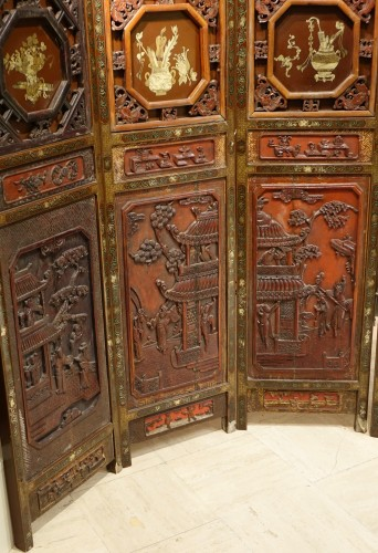 A  19th century  Chinese lacquer screen  -