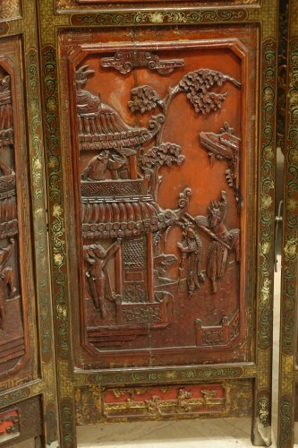 19th century - A  19th century  Chinese lacquer screen
