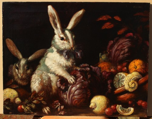 Max LUBER (1879-1950) -Two Rabbits, Circa 1930 - Paintings & Drawings Style Art Déco
