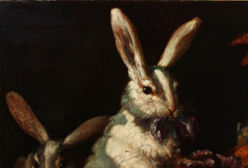 Paintings & Drawings  - Max LUBER (1879-1950) -Two Rabbits, Circa 1930