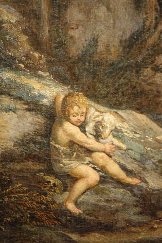 Little Saint John the Baptist with Lamb, oil on canvas France 17th Century  - Paintings & Drawings Style Louis XIV