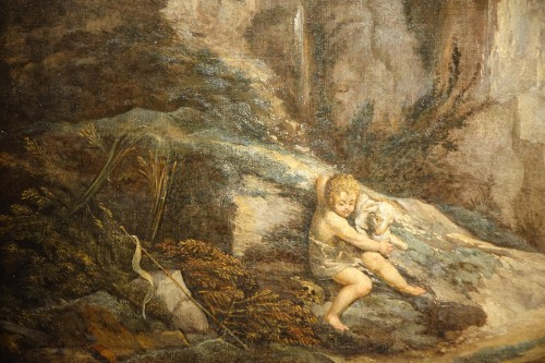 Paintings & Drawings  - Little Saint John the Baptist with Lamb, oil on canvas France 17th Century