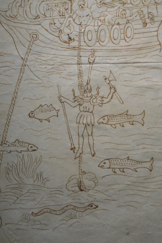 Rare and Unusual 15th Century Sepia Color Wash Drawing of a Diver, Italy - Paintings & Drawings Style Middle age