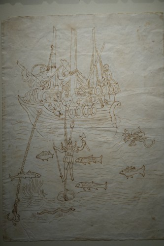 Paintings & Drawings  - Rare and Unusual 15th Century Sepia Color Wash Drawing of a Diver, Italy